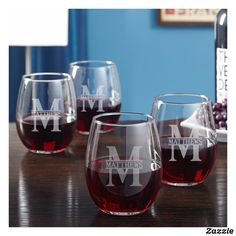 Classic Monogram Stemless Personalized Wine Glasses, Set of 5 - Engraved Wine Glasses, Wine Lover Gifts, Bridesmaid Gifts, Bridal Party Gift Custom Wine Glasses, Personalized Wine Glasses, Red Wine Glasses, Stemless Wine Glasses, Personalised Wine, Wine Tumblers, Wine Decanter, Whiskey Glasses, Personalized Wedding