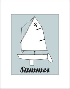 Summer Opti Sailing Matted Print