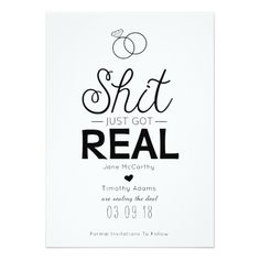 Funny Save The Date Printable Shit Just Got Real Wedding - Funny save the date templates