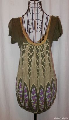 FREE PEOPLE TOP S Small Gray Knit Short Sleeve Hippie Boho Distressed #FreePeople #KnitTop