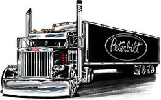 Big Rig Trucks, Semi Trucks, Hearts And Roses, Truck Art, Art Deco Posters, Peterbilt Trucks, Gas Pumps, Car Drawings, Rigs