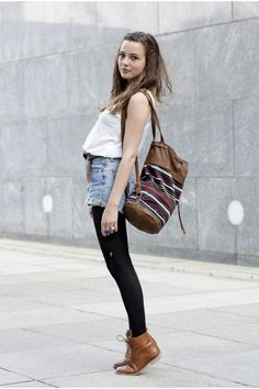 white top, high waisted jean shorts, black tights, oxford boots, aztec bag.