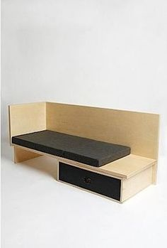 Angular, modern seating with integrated storage and clean, carefully situated lines. Flat seat topped with complementing cushions; Plywood Furniture, Sofa Furniture, Furniture Making, Furniture Design, Cheap Furniture, Plywood Interior, Plywood Cabinets, Furniture Stores, Discount Furniture