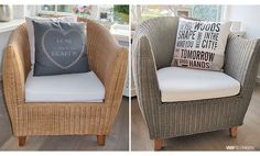Greywash, hout en riet vergrijzen Outdoor Chairs, Outdoor Furniture, Outdoor Decor, Old Wood, Furniture Making, Chalk Paint, Armchair, Gardening, Tips