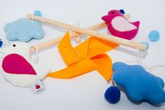 Baby-Mobile *Windrad Orange* Mobiles, Baby Mobile, Dinosaur Stuffed Animal, Orange, Toys, Animals, Activity Toys, Animales, Animaux