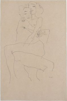 Egon Schiele, Embracing couple