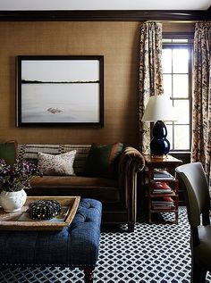 Toasty grasscloth walls with dark trim & velvet sofa crate a masculine vibe. Living Room Designs, Living Spaces, Living Rooms, Family Rooms, Salas Home Theater, Design Salon, Up House, It Goes On, Love Home