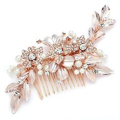 Mariell Rose Gold Designer Bridal Hair Comb Wedding Headpiece with Hand-Painted Leaves and Pave Crystals