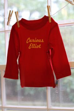 Red Curious George Style Personalized Kids LONG by MySugarBeans, $23.00