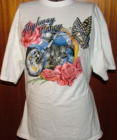 Vintage NEW Highway Honey Motorcycle T-shirt Womens Tee Biker Large White by TimeofReason on Etsy