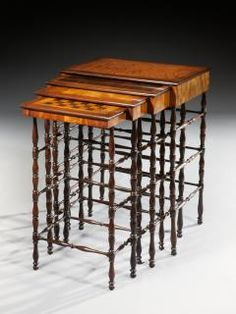 Exceptional Regency Nest of Quartetto Specimen Antique Tables made by Gillows of Lancaster English Circa 1815