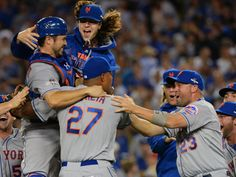 A; New York Mets starting pitcher Jacob deGrom, top, celebrates the 3-2 victory against Los Angeles Dodgers in game five of NLDS in Los Angeles. The Mets advance to the Nationals League Championship Series.   Jayne Kamin-Oncea, USA TODAY Sports