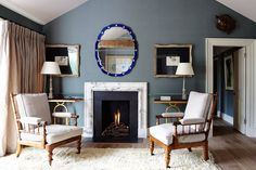See all our stylish living room design ideas on HOUSE by House & Garden, including this sitting room in a London flat designed by Adam Bray, which features a Fifties Italian mirror and a marble chimneypiece. Living Room Grey, Home Living Room, One Bedroom Flat, French Dining Chairs, Wooden Armchair, Wooden Sofa, Relax, Interior Decorating, Interior Design