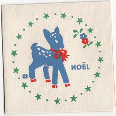 Vintage Greeting Card Christmas Deer Stars 1940s Paramount I600 | eBay