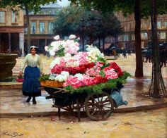 VICTOR GABRIEL GILBERT (France, 1847-1933) - The flower seller.
