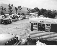 trailer court in black & white