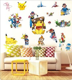 55*80cm Cartoon Pokemon Wall Stickers For Kids Room Home Decorations  Pikachu Wall Decal Poster Part 67