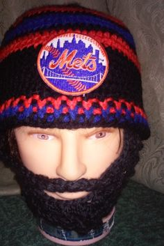NEW YORK METS Bearded Beanie,NYMets BeanieCustomizeAnySize AnyColor,MetsEmbroideredPatch,VelcroBothSideBeard&Beanie4Fit,CheckAll5Pictures by DWedgeCreations on Etsy