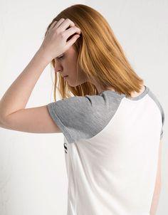 T-shirt imprimé BSK manche contrastée - T- Shirts - Bershka Algérie