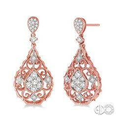 3/4 Ctw Pear Shape Diamond Earrings in 14K Rose/Pink Gold