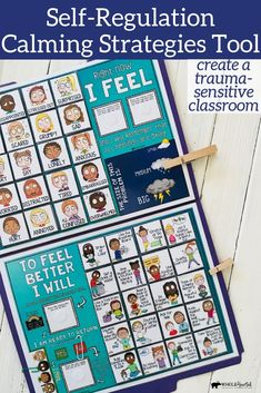 """eachers, school counselors, and school social workers can use this lap board as part of their classroom management and/or social-emotional curriculum or as an individual intervention for students who need additional support with self-regulation. Can act as a stand alone """"Calming Corner"""" or supplement your already existing classroom and/or office Take A Break, Peace Corner, Zen Zone and Calm Down Station. Great as a Check-In and Check-Out resource, too. Emotional Regulation, Self Regulation, Counseling Activities, Vestibular Activities, Mindfulness Activities, Mindfulness Exercises, Coping Skills, Social Skills, Guidance Lessons"""
