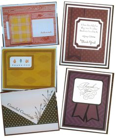 A few Masculine Thank you cards made for OWH, Clean & Simple, various papers and stamps