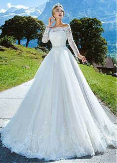 Buy discount Amazing Tulle Off-the-shoulder Neckline A-line Wedding Dress With Lace Appliques & Beading & Belt at Dressilyme.com