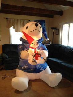 HTF Gemmy Christmas Airblown Inflatable Polar Bear w/ Baby Bear 7Ft. Very C...