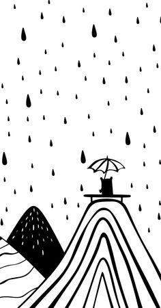 Rain Wall Art Under The Umbrella Kids Room Print Mountain Art Nordic Nursery Prints Baby Room Decor Black and White Nursery Decor Baby room Baby Wallpaper, Kids Room Wallpaper, Wallpaper Art, Nursery Artwork, Nursery Prints, Baby Room Decor, Nursery Decor, Girl Nursery, Room Baby