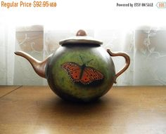 Hand-Carved Painted Butterfly Gourd Faux by RockySpringsVintage