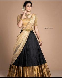 Lehenga Saree Design, Half Saree Lehenga, Lehnga Dress, Lehenga Designs, Saree Blouse Designs, Gown Dress, Indian Fashion Dresses, Indian Gowns Dresses, Indian Bridal Fashion