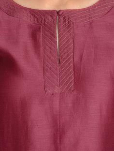 Buy Maroon Zari Stitch Detailed Chanderi Kurta by Jaypore Online Salwar Neck Patterns, Salwar Pattern, Salwar Neck Designs, Neck Designs For Suits, Kurta Neck Design, Neckline Designs, Sleeves Designs For Dresses, Dress Neck Designs, Kurta Designs Women
