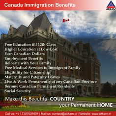 """Canada is among the best places for those who are looking for immigration destinations. It's even called the """"PARADISE of the IMMIGRANTS"""". Canada warmly welcome new immigrants and is the most sought place in the world. If you want to immigrate to Canada then contact us. We will help you with all your visa needs. make Canada your Home Country. Free Education, Higher Education, Migrate To Canada, Immigration Canada, Canadian Dollar, Moving To Canada, The Good Place, Australia, Hyderabad"""