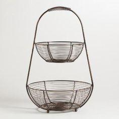 Bronze Wire 2-Tier Basket   World Market