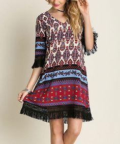 Magenta Geometric Tunic Dress