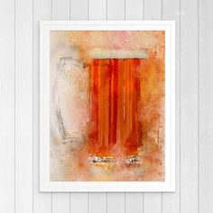Cold sparkly pint of beer art print