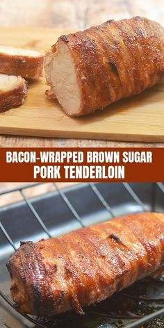 Brown Sugar Bacon-Wrapped Pork Tenderloin Brown Sugar Bacon-Wrapped Pork Tenderloin is an easy-to-prepare meal that's sure to impress. Wrapped in bacon and beautifully caramelized with a sweet brown sugar glaze, it's super juicy and tasty! Bacon Recipes, Cooking Recipes, Cooking Bacon, Healthy Recipes, Easy Pork Tenderloin Recipes, Game Recipes, Cooking Turkey, Dip Recipes, Healthy Options