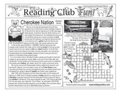 CHEROKEE NATION - Enjoy a Cherokee (Eastern Band)-themed Two-Page Activity Set and two Native American-themed puzzles with this discounted bundle! Includes the following products:    •Cherokee Nation (Eastern Band) Two-Page Activity Set   • Places Native Americans Named Crossword Puzzle • Contributions from Native American (and Inuit) Languages Word Search Puzzle