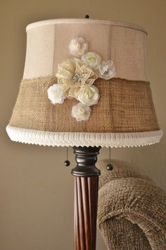 shabby chic lamp shade makeover. Vintage lace, burlap, flowers