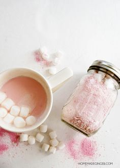 This pink hot chocolate mix has a slightly strawberry flavor that is so delicious - and it couldn't be easier to make! Great for gifts in mason jars.