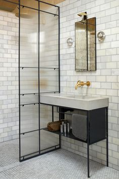 Up To 40% Off Our Bestselling Bathroom Brands, Expertly Created By Innovative Designers. Bad Inspiration, Bathroom Inspiration, Layout Design, Design Ideas, Baños Shabby Chic, Showers Without Doors, Concrete Basin, Concrete Bathroom, Shower Tile Designs