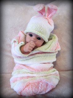 Baby Bunny Hat and Matching Cocoon Pink by AdorableBabyCreation, $28.99