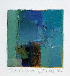 Oct. 16, 2012 - Original Abstract Oil Painting - 9x9 painting (9 x 9 cm - app. 4 x 4 inch) with 8 x 10 inch mat. $60.00, via Etsy.