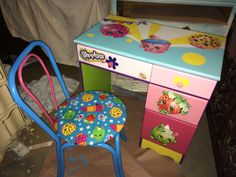 Discover recipes, home ideas, style inspiration and other ideas to try. Cool Desk Chairs, Desk And Chair Set, Shopkins Room, Colorful Desk, Toddler Table And Chairs, Chair Pictures, Custom Paint, Custom Desk, Tissue Box Covers