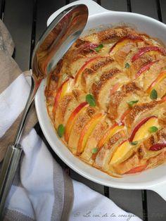 Gratin de pain perdu aux nectarines et crème d'amande | Blog de recettes bio : Le cri de la courgette...
