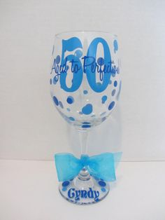 Extra large personalized wine glass 50th birthday by DottedDesigns
