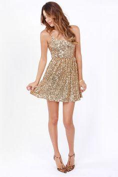 Pretty Gold Dress - Sequin Dress - Cocktail Dress - Skater Dress - $46.00