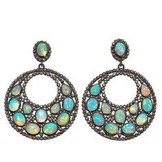Rarities Fine Jewelry with Carol Brodie Rarities: Fine Jewelry with Carol Brodie Ethiopian Opal and Champagne Diamond Circle Drop Earrings