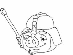 Angry birds epic coloring page - knight pig