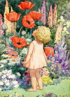 Small Girl Smelling Large Red Poppies by Margaret Tarrant 1888-1959 English
